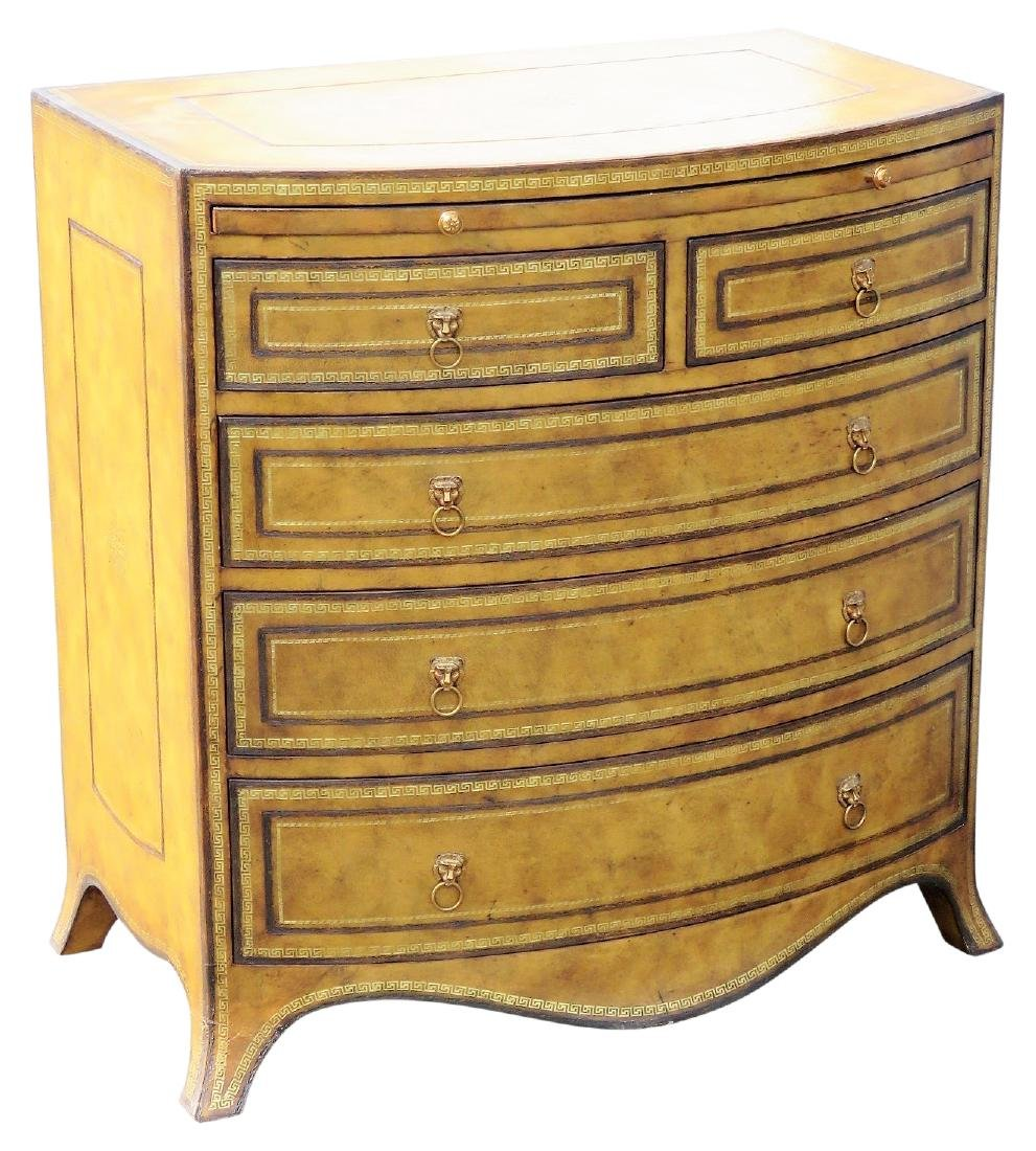 MAITLAND SMITH DECORATIVE LEATHER CHEST of DRAWERS