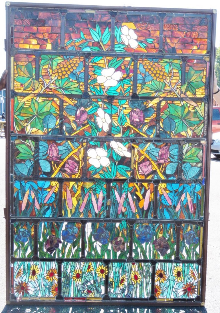 LARGE LEADED GLASS VICTORIAN WINDOW