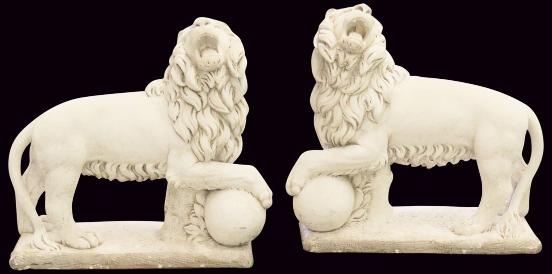 Pair CEMENT LIONS FROM THE CHELSEA HOTEL