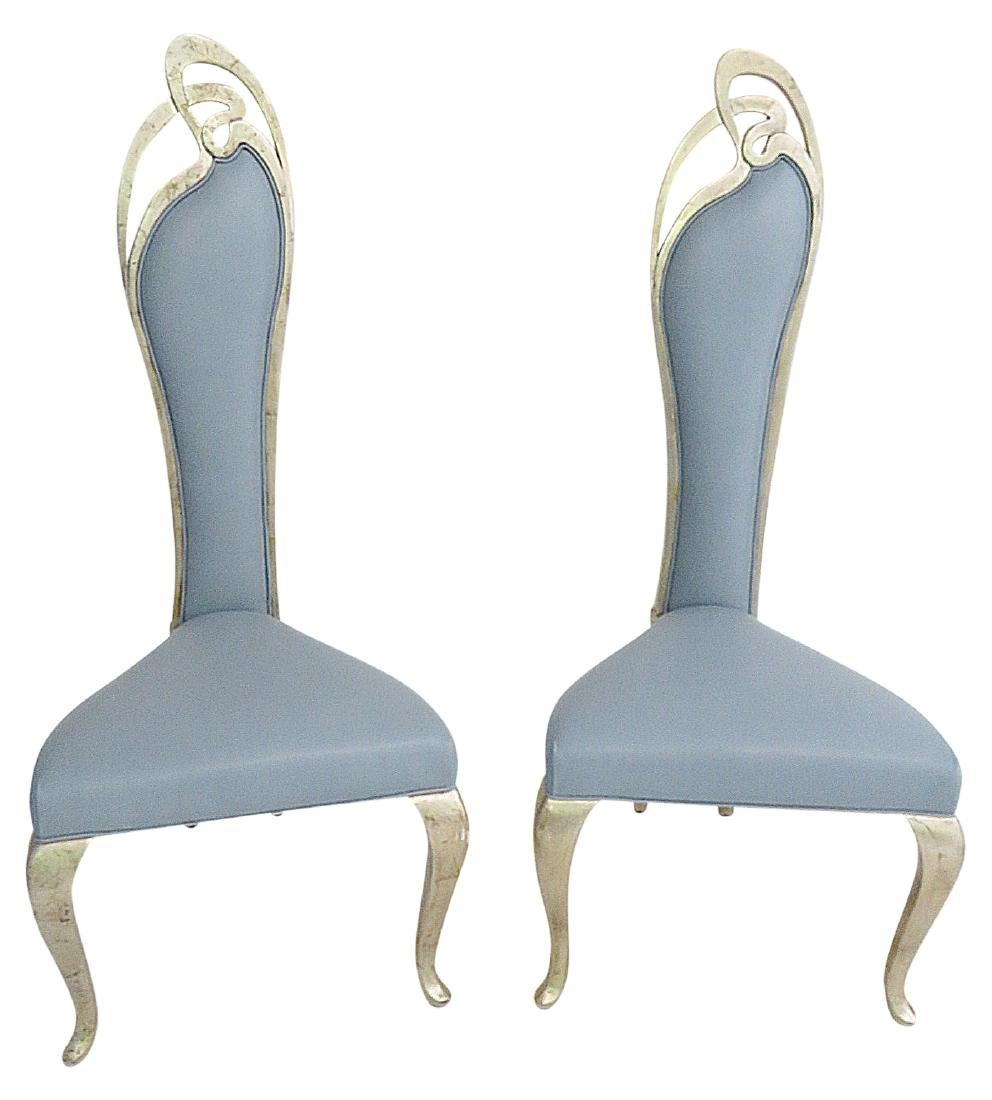 Pair BLUE LEATHER UPHOLSTERED SIDE CHAIRS