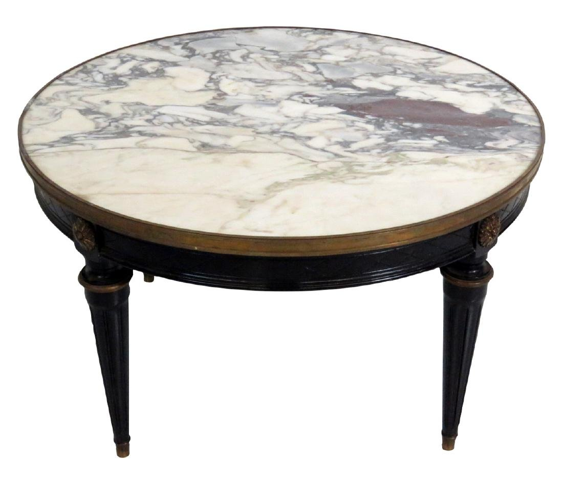 FRENCH REGENCY MARBLE TOP COFFEE TABLE