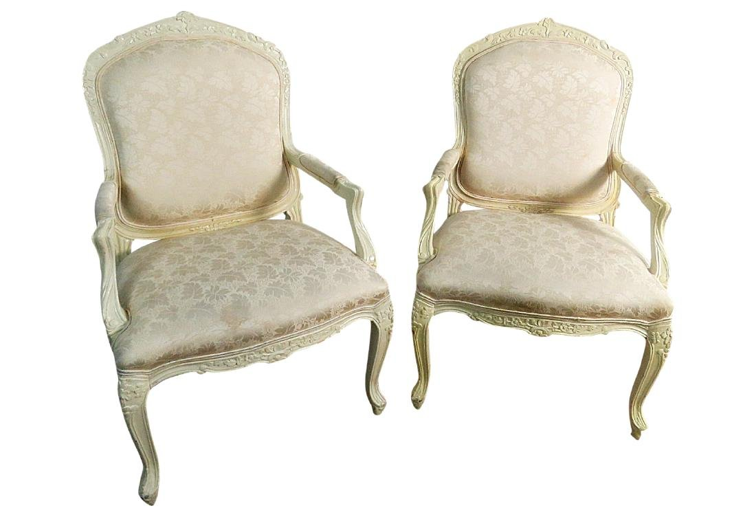 Pair FRENCH CARVED UPHOLSTERED ARM CHAIRS