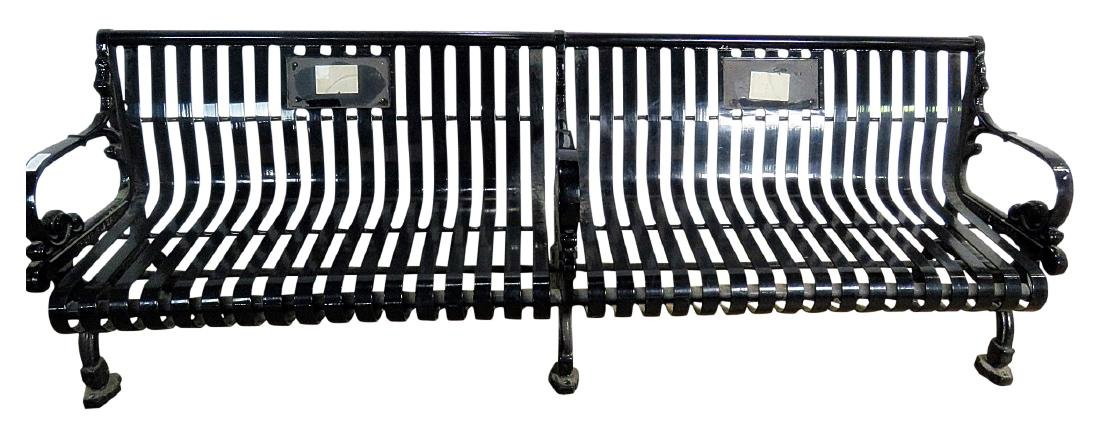 BLACK IRON SLATTED BENCH from TRUMP PLAZA