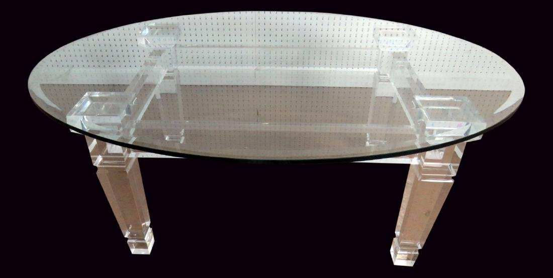 LUCITE BASE GLASSTOP TABLE