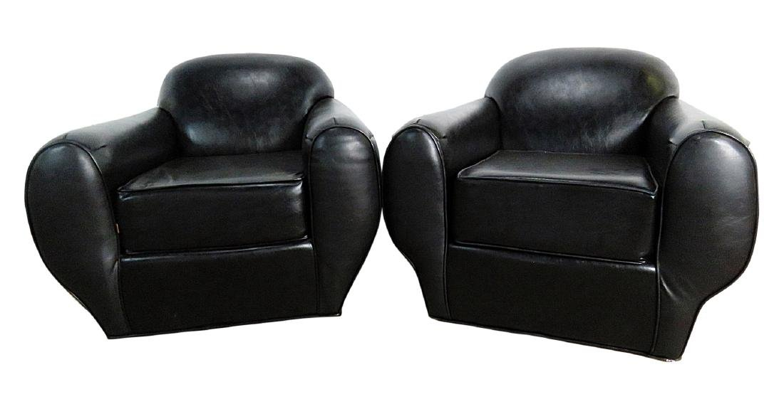 Pair FRENCH DECO STYLE VINYL ARM CHAIRS