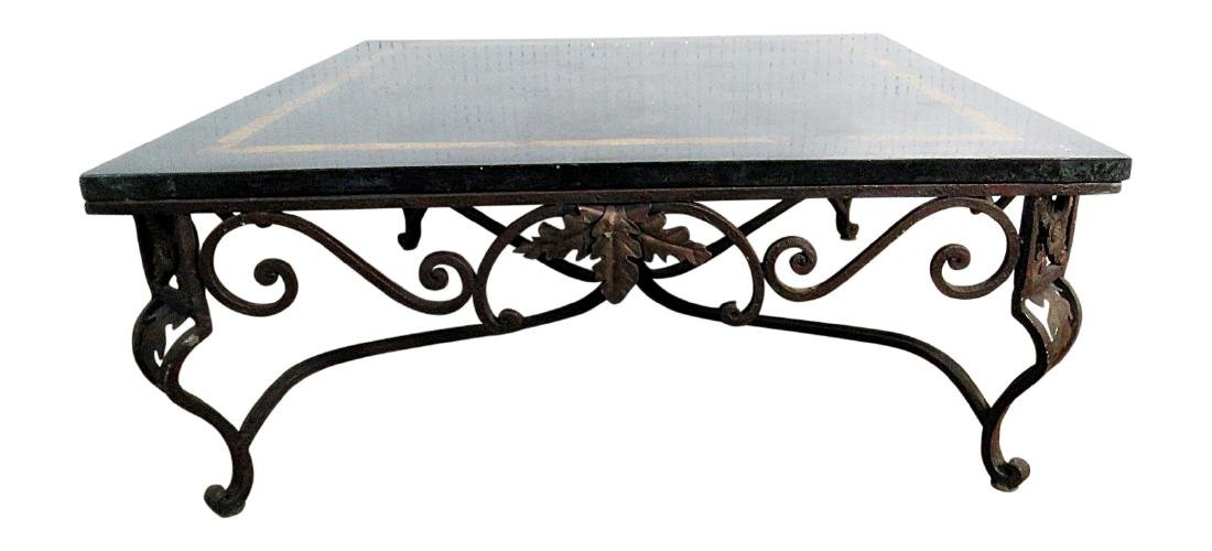 LAMINATED MARBLE TOP WROUGHT IRON COFFEE TABLE