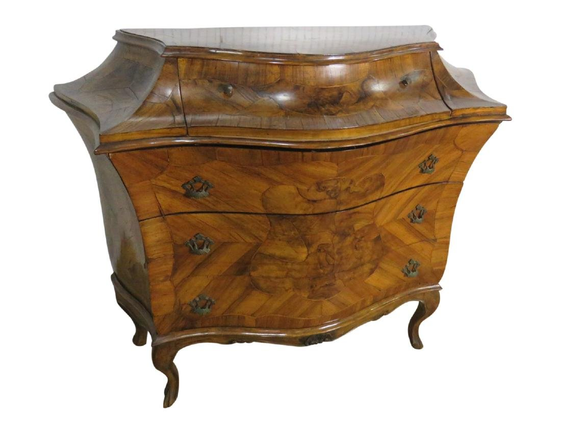 ANTIQUE ITALIAN CARVED WALNUT COMMODE