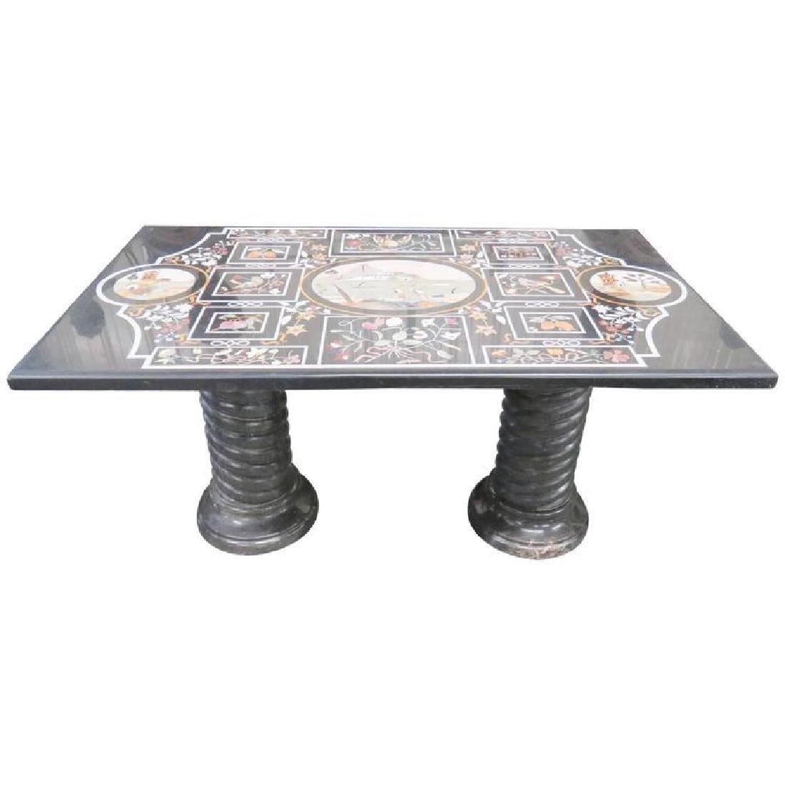 Italian Pietra Dura Inlaid Marble Dining Table
