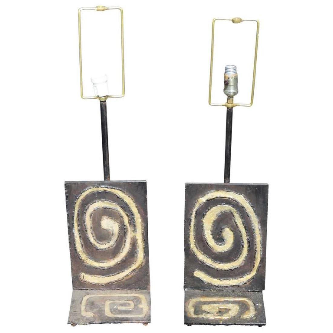 Pair of Industrial Design Wrought Iron Table Lamps