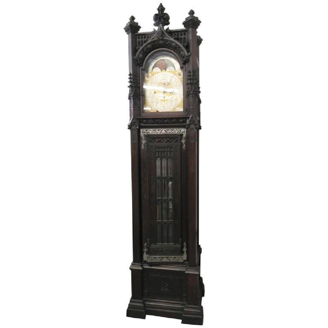 Gothic Style Carved Grandfather's Clock