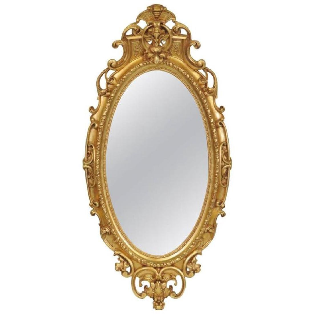 19th Century American Oval Gilt Mirror