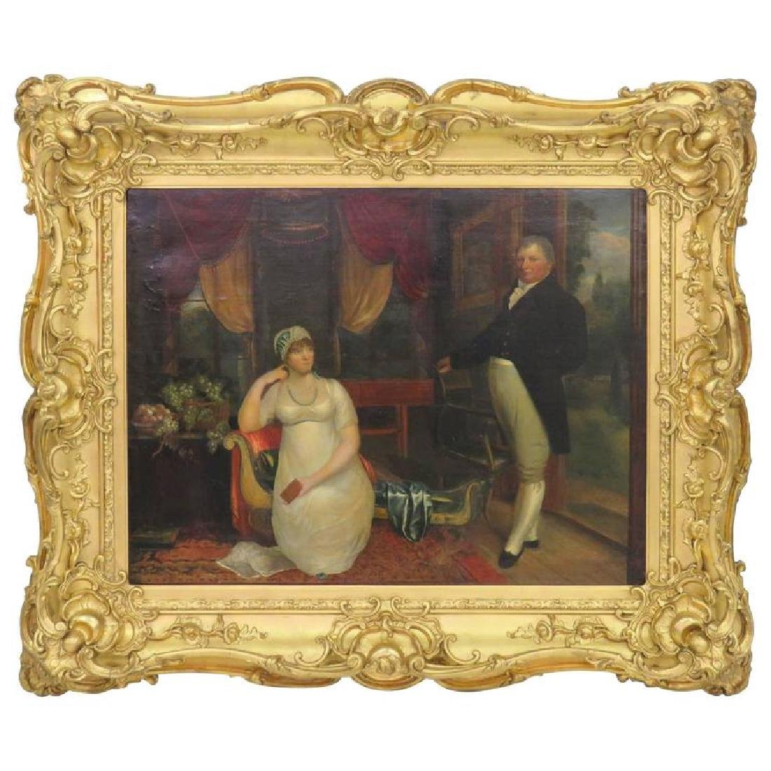 19th Century Painting Portrait of Lady and Gentleman
