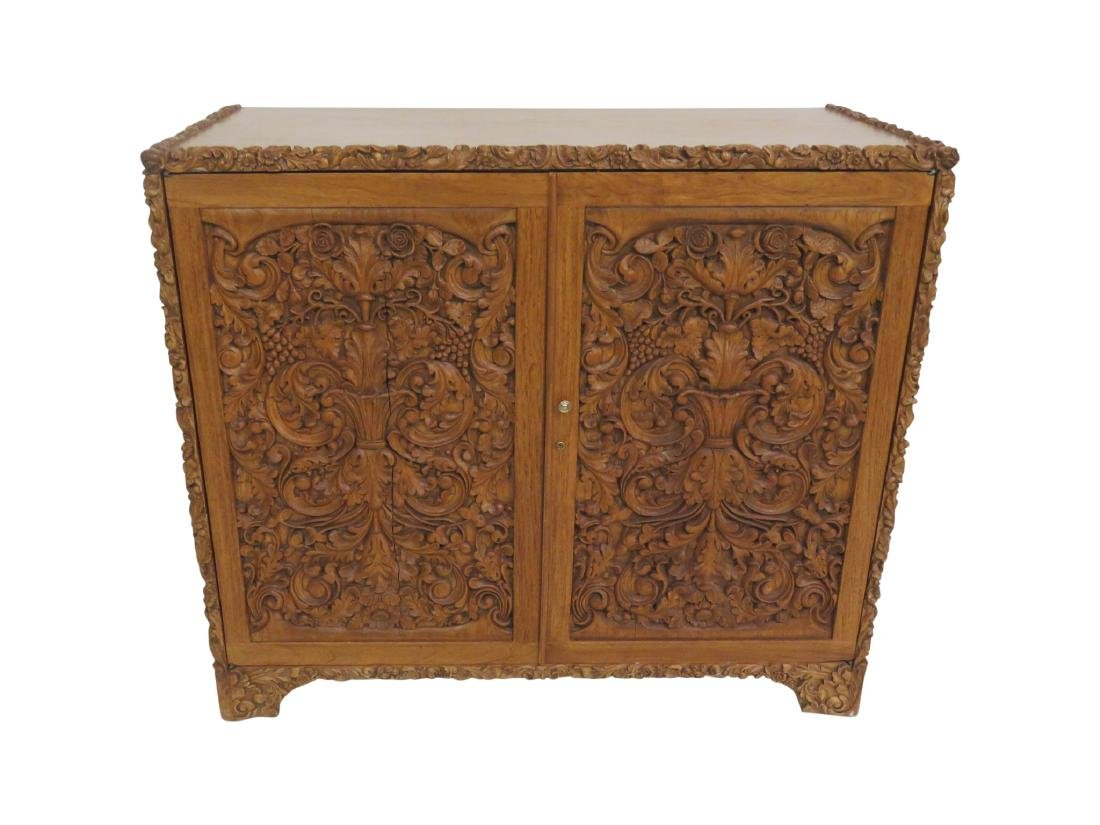 INDO CARVED TWO DOOR CABINET
