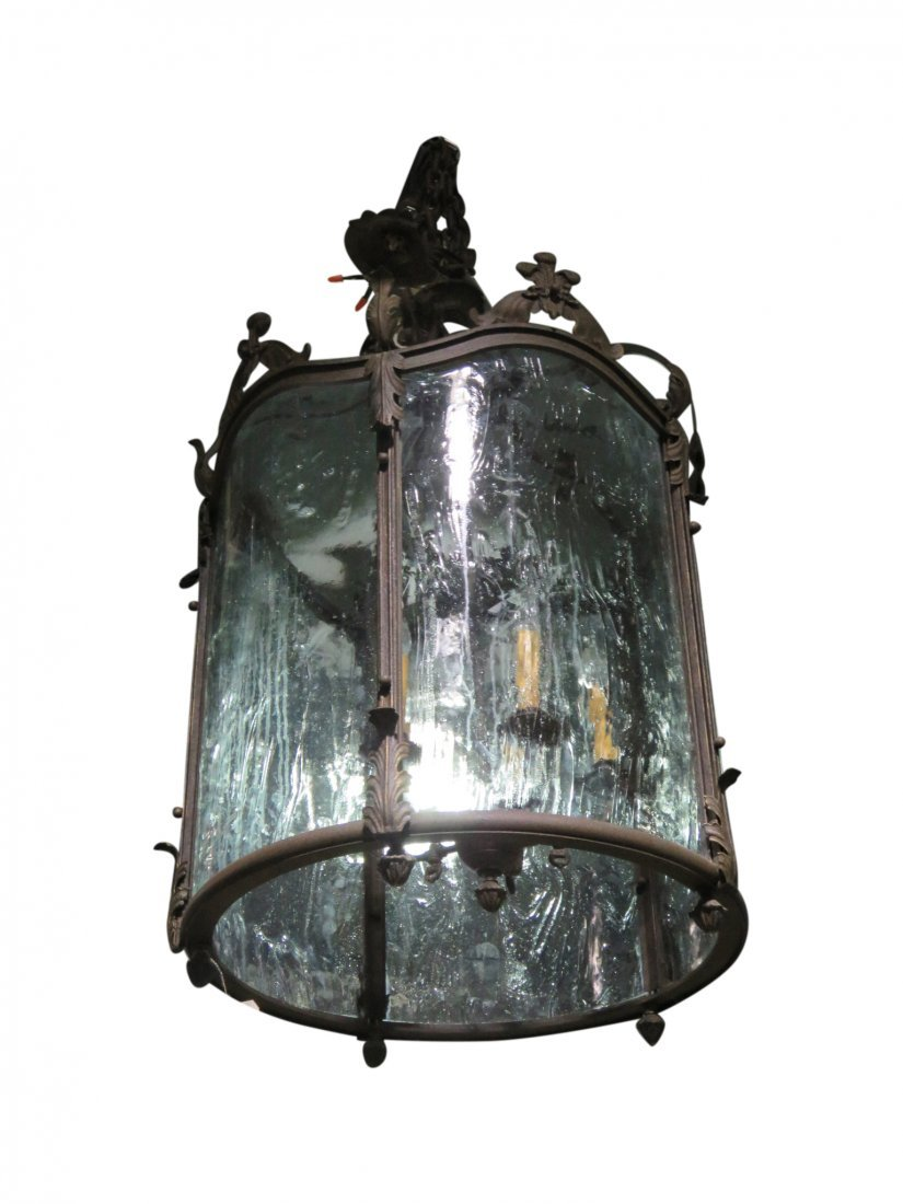 DISTRESSED METAL LANTERN CHANDELIER