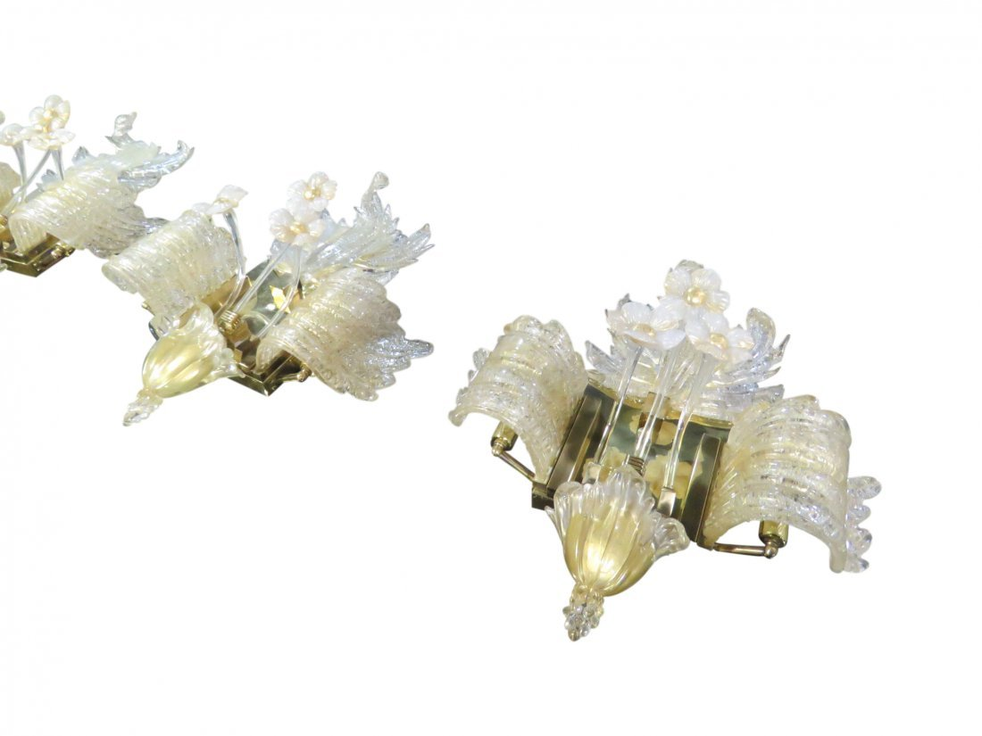 4 ITALIAN MURANO GLASS WALL SCONCES