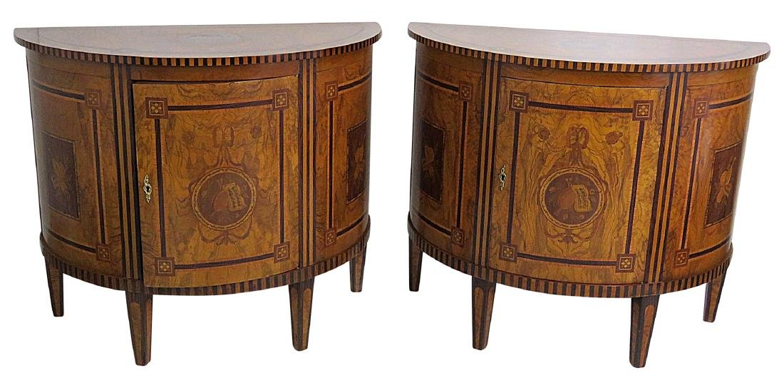 Pair ADAMS STYLE DEMILUNE INLAID COMMODES