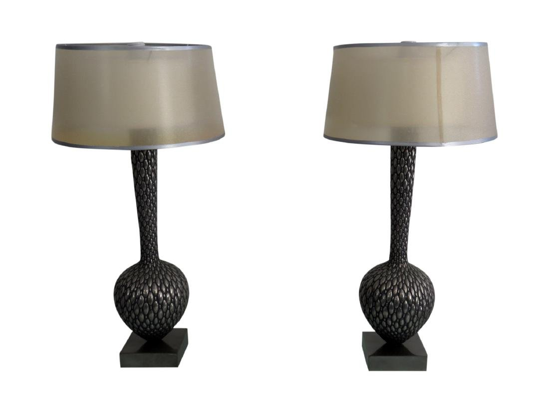 Pair MODERN DESIGN SHADED LAMPS