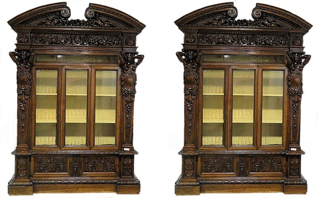 Pair MONUMENTAL HORNER STYLE FIGURAL CARVED BOOKCASES