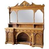 Large Monumental Gothic Oak Sideboard