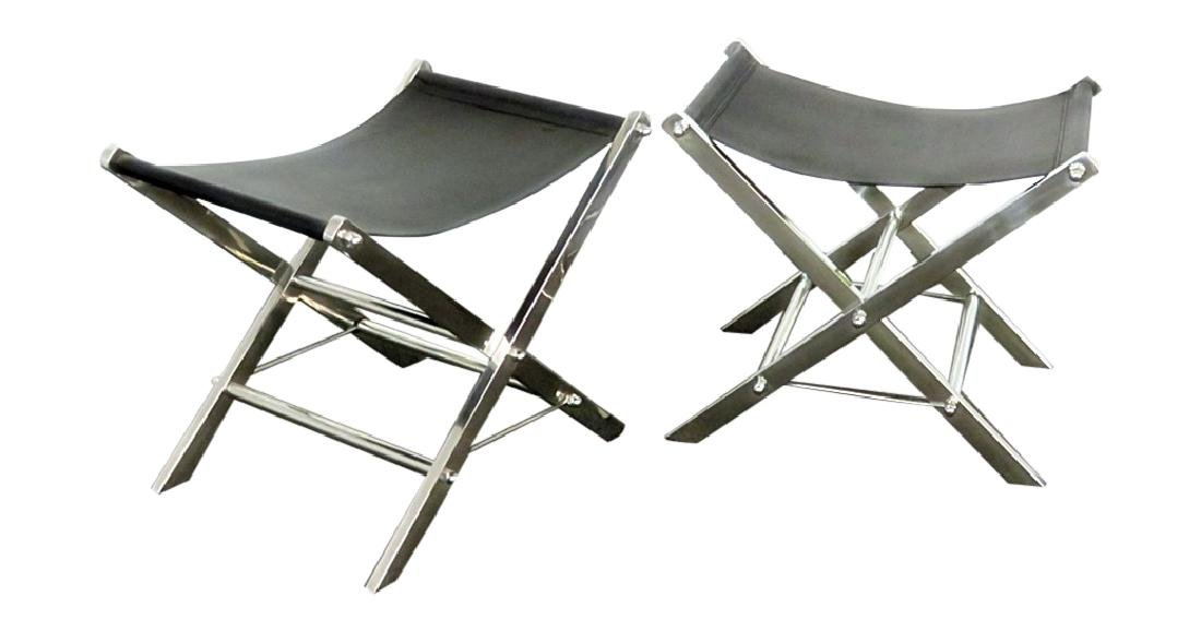 Pair CHROME AND LEATHER X BENCHES
