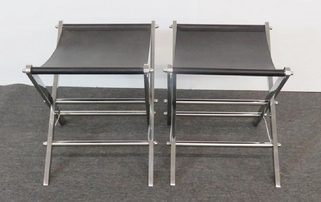 Pair CHROME AND LEATHER X BENCHES - 3