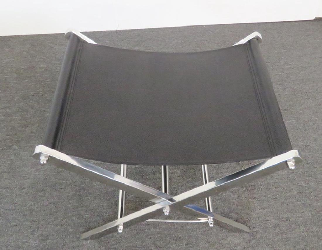 Pair CHROME AND LEATHER X BENCHES - 4