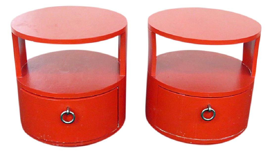Pair ROUND KARL SPRINGER STYLE END TABLES