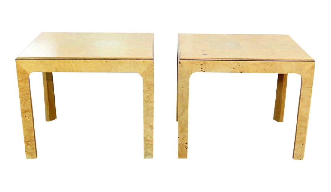 Pair BAUGHMAN INSPIRED HENREDON BURL WALNUT END TABLES