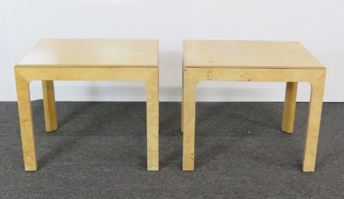 Pair BAUGHMAN INSPIRED HENREDON BURL WALNUT END TABLES - 2