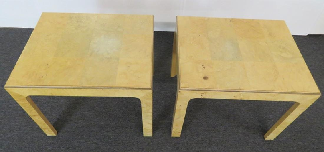 Pair BAUGHMAN INSPIRED HENREDON BURL WALNUT END TABLES - 4