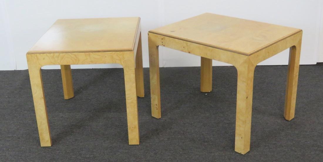 Pair BAUGHMAN INSPIRED HENREDON BURL WALNUT END TABLES - 5