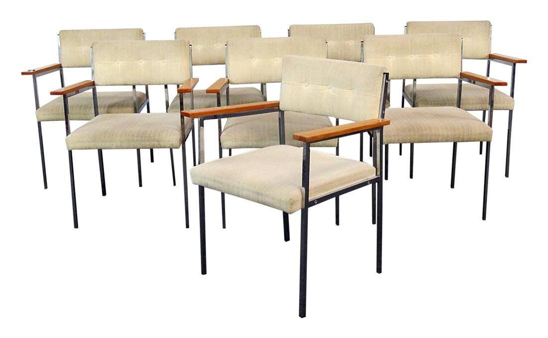 8 CHROME AND UPHOLSTERED ARMCHAIRS