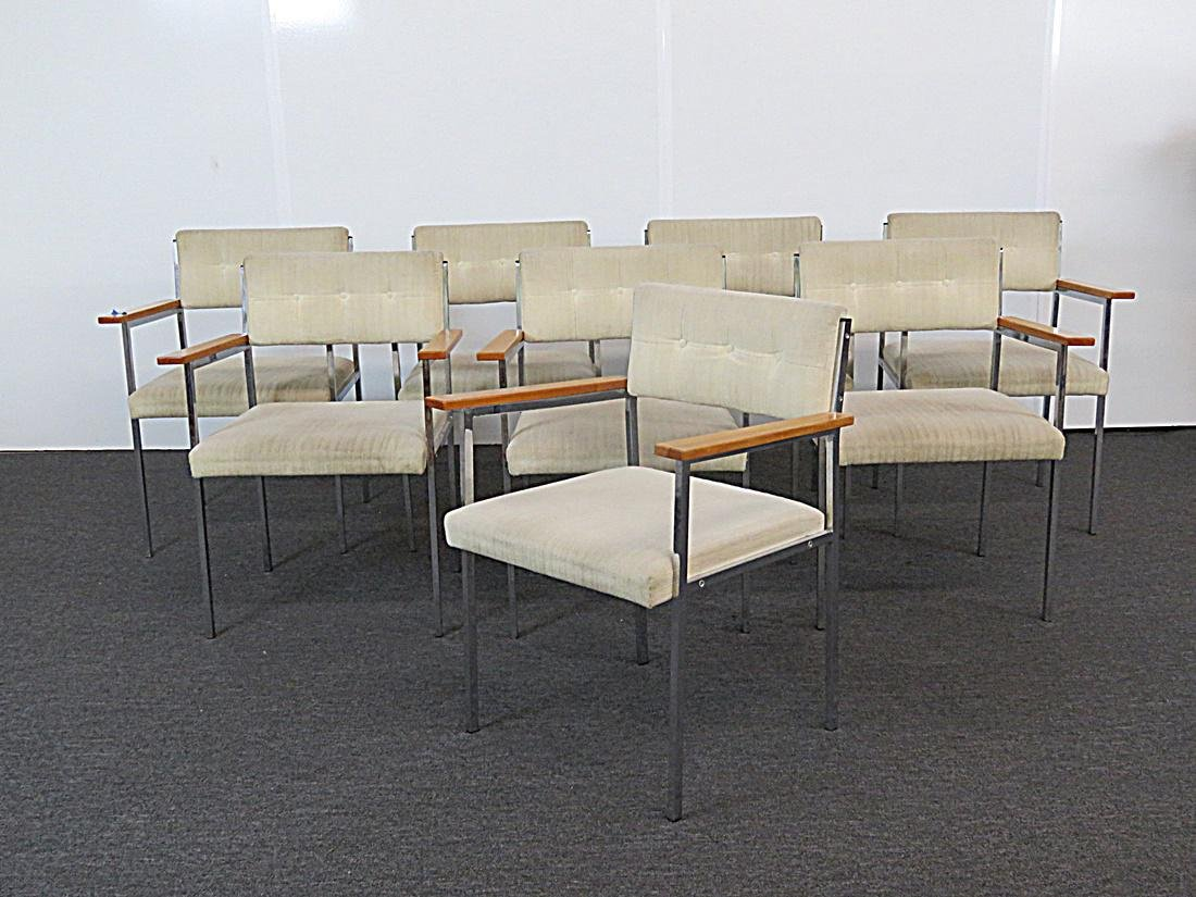 8 CHROME AND UPHOLSTERED ARMCHAIRS - 2