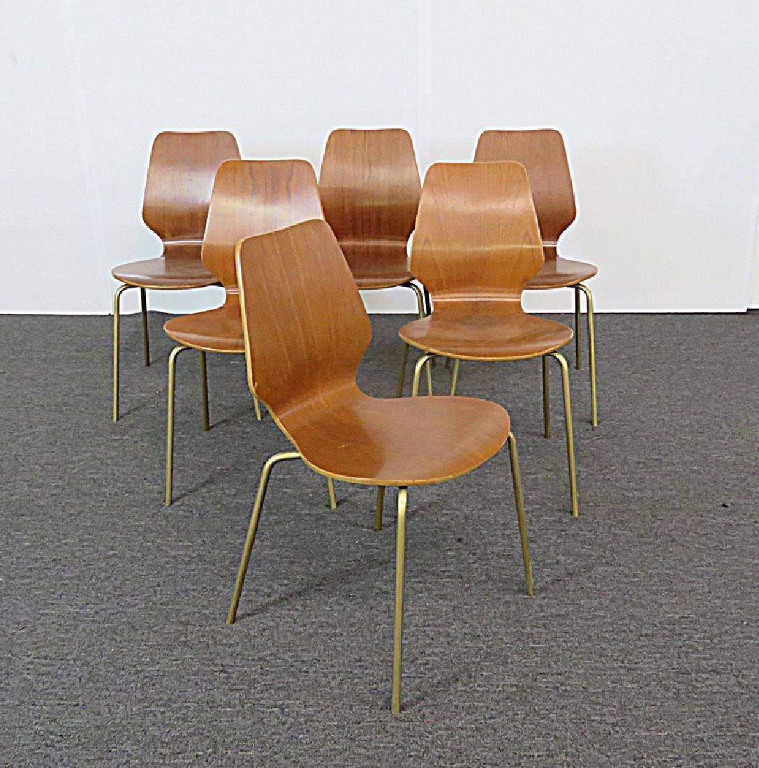6 BENT PLYWOOD MCM CHAIRS - 2
