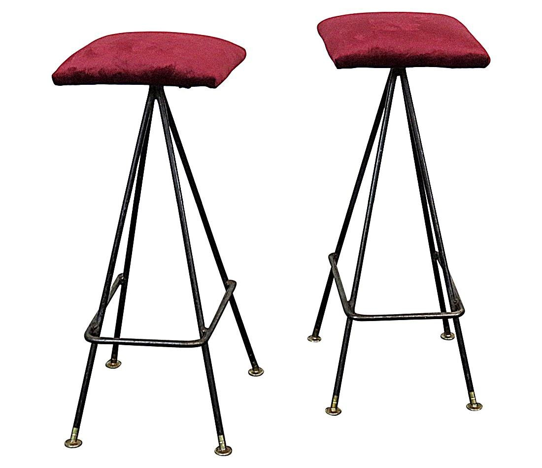 Pair PEARSALL STYLE UPHOLSTERED BAR STOOLS