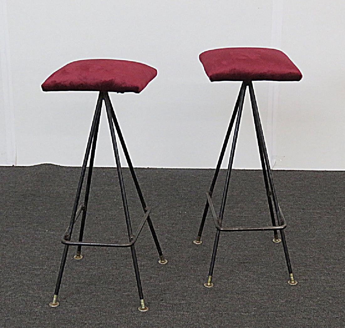 Pair PEARSALL STYLE UPHOLSTERED BAR STOOLS - 2