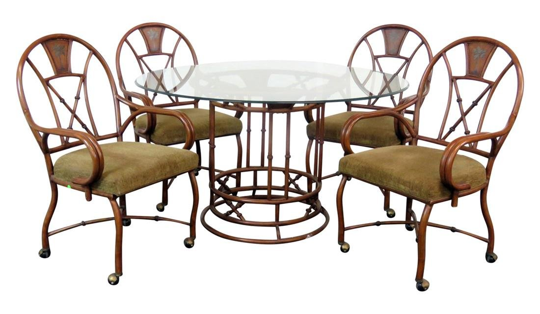5 pc. FAUX BAMBOO TOLE DECORATED DINING SET