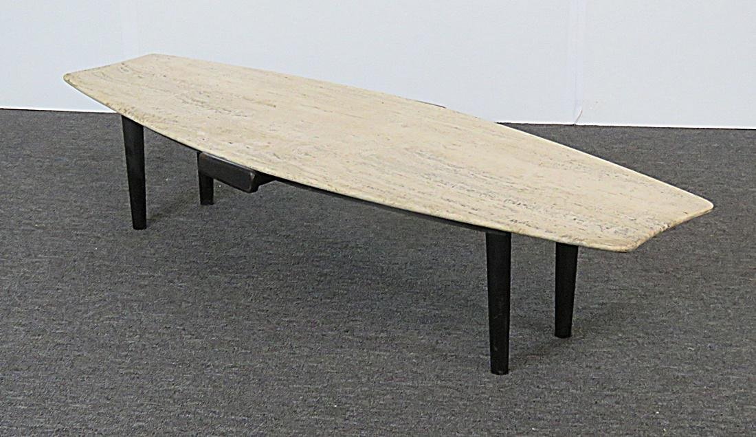 TRAVERTINE TOP COFFEE TABLE - 2