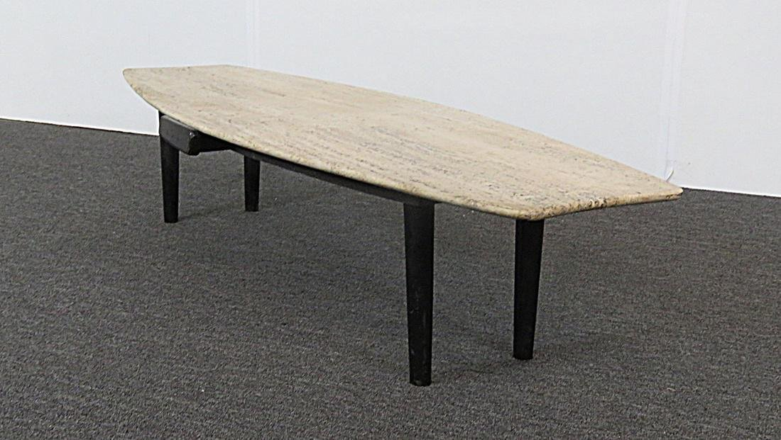 TRAVERTINE TOP COFFEE TABLE - 4