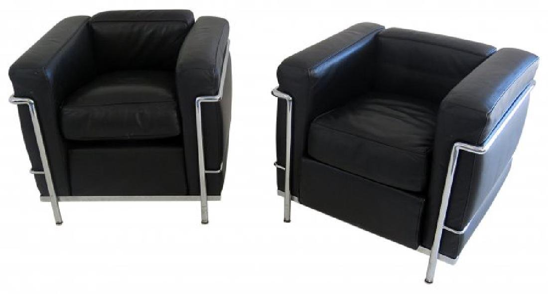 Pair LE CORBUSIER CLUB CHAIRS by CASSINA
