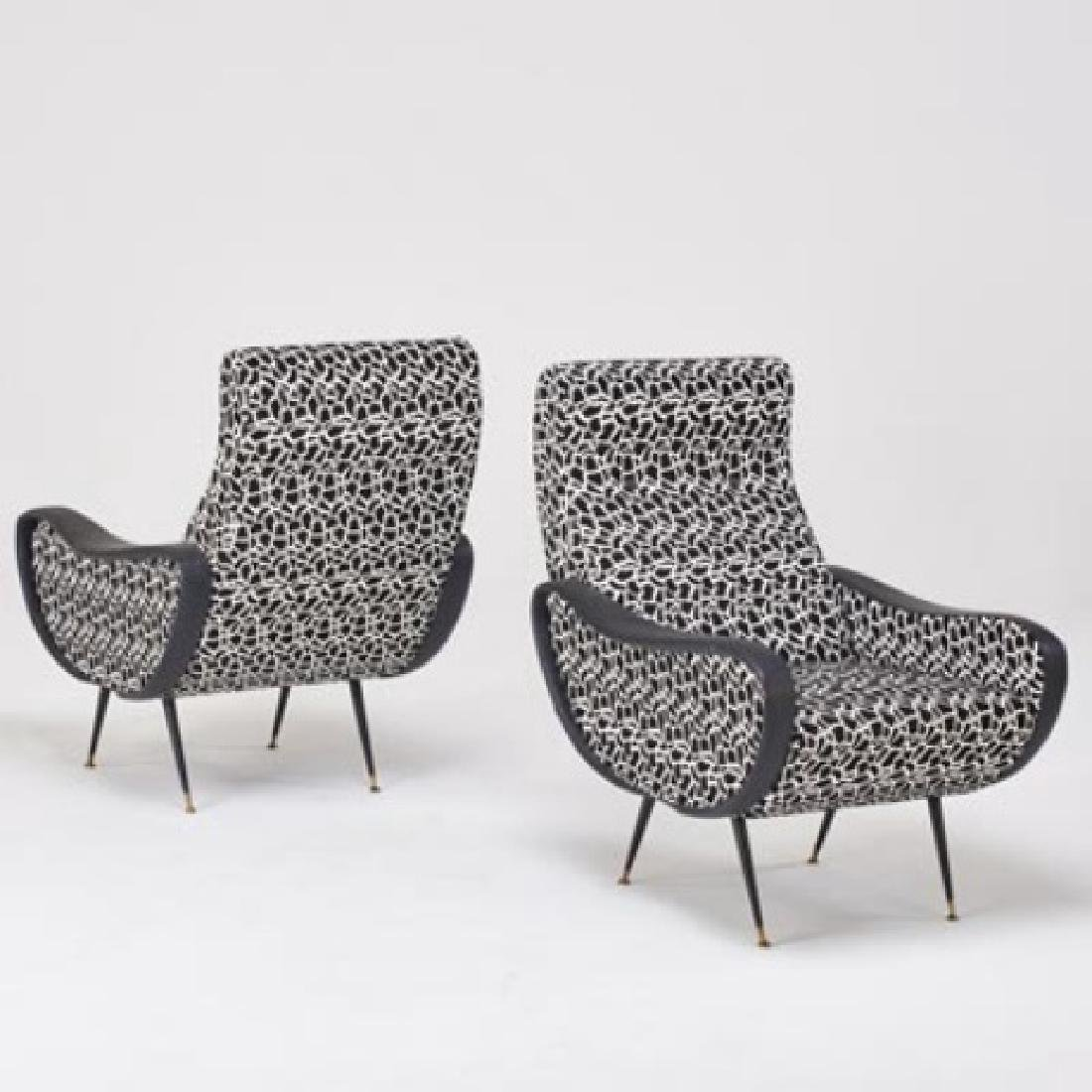 Pair ITALIAN STYLE CHAIRS w/FAUX HIDE