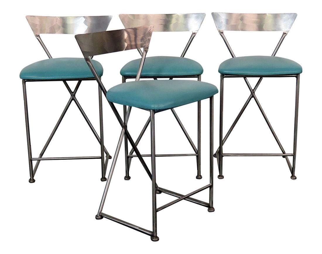 4 STAINLESS STEEL BAR STOOLS BY SHAVER-HOWARD INC.