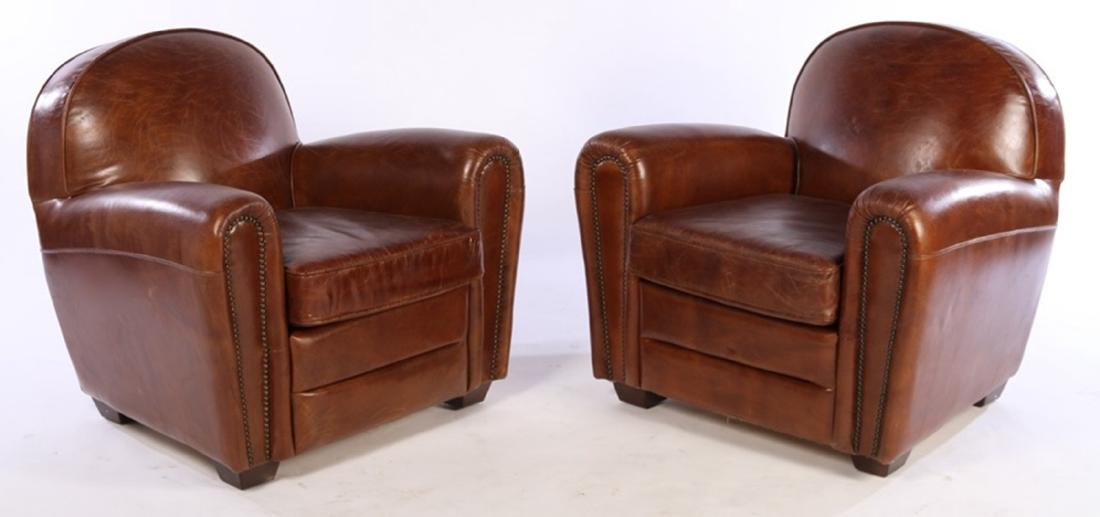 Pair FRENCH ART DECO STYLE  CLUB CHAIRS