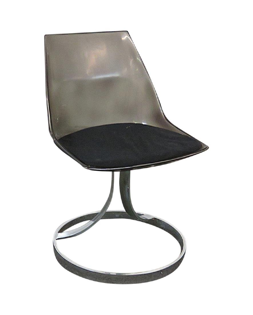 ITALIAN LUCITE AND CHROME CHAIR