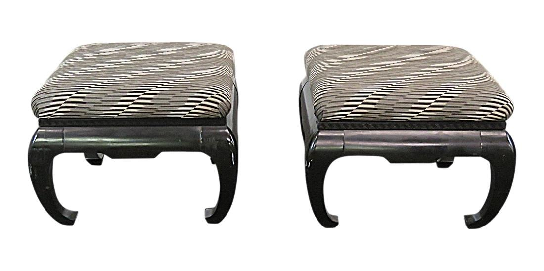 Pair SPRINGER STYLE ASIAN INFLUENCED OTTOMANS