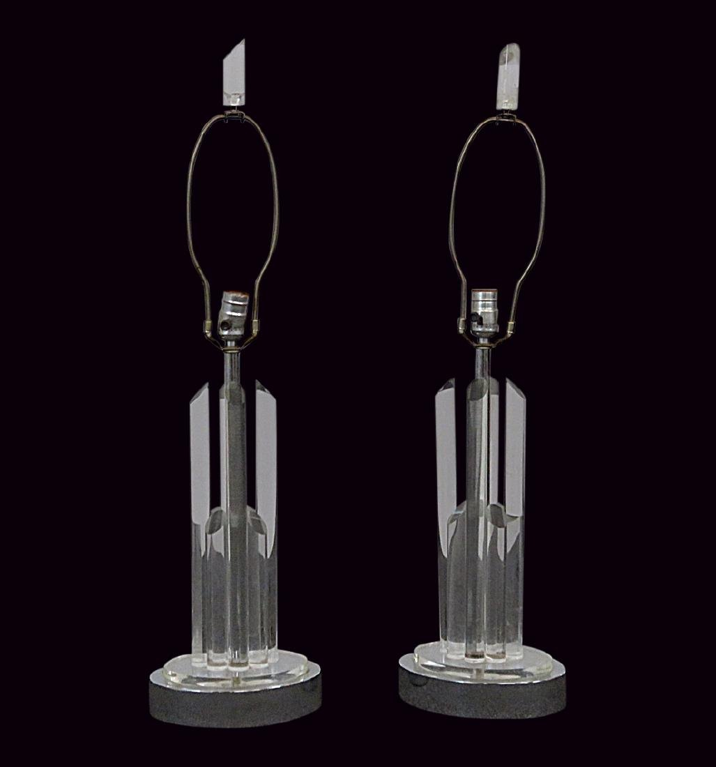 Pair CAMER LUCITE AND CHROME LAMPS