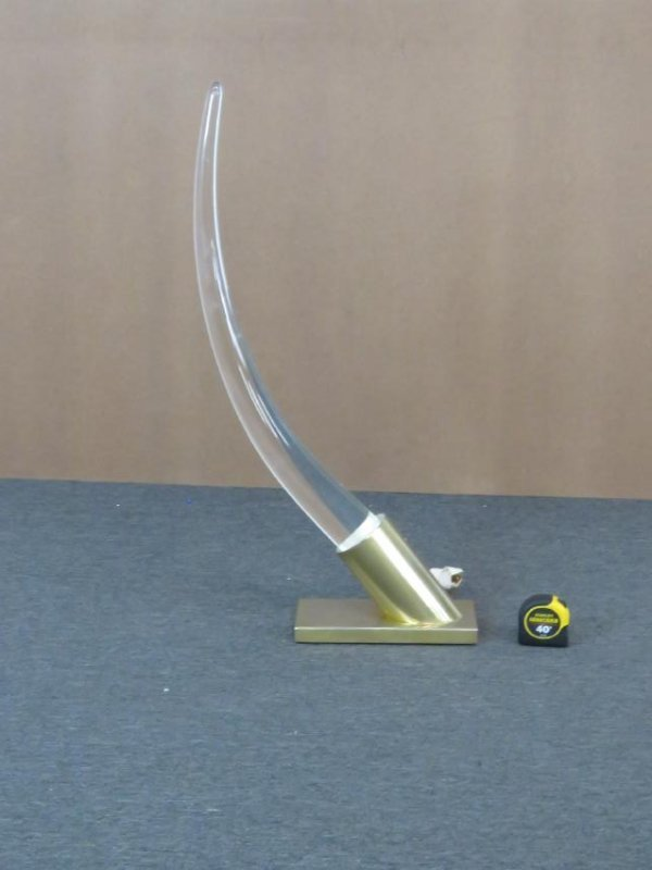 V. KAGAN STYLE LUCITE AND BRASS TUSK LAMP - 2