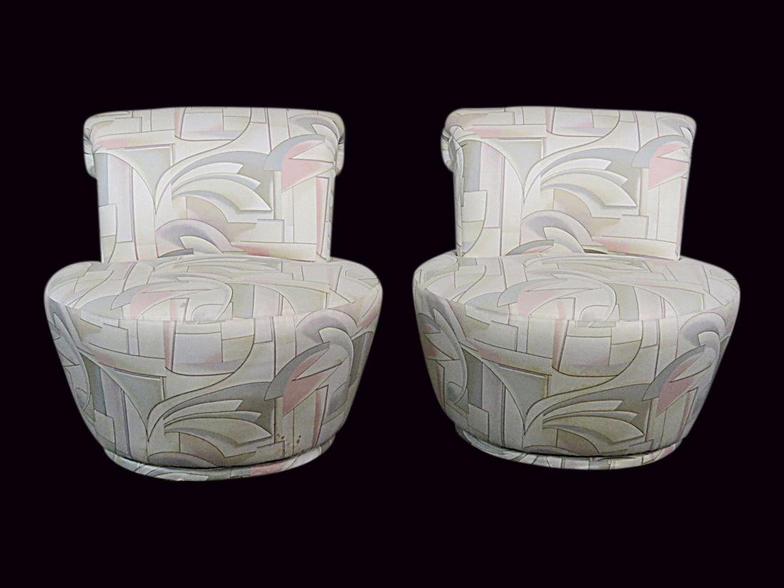 Pair V. KAGAN FOR WEIMAN SWIVEL CHAIRS