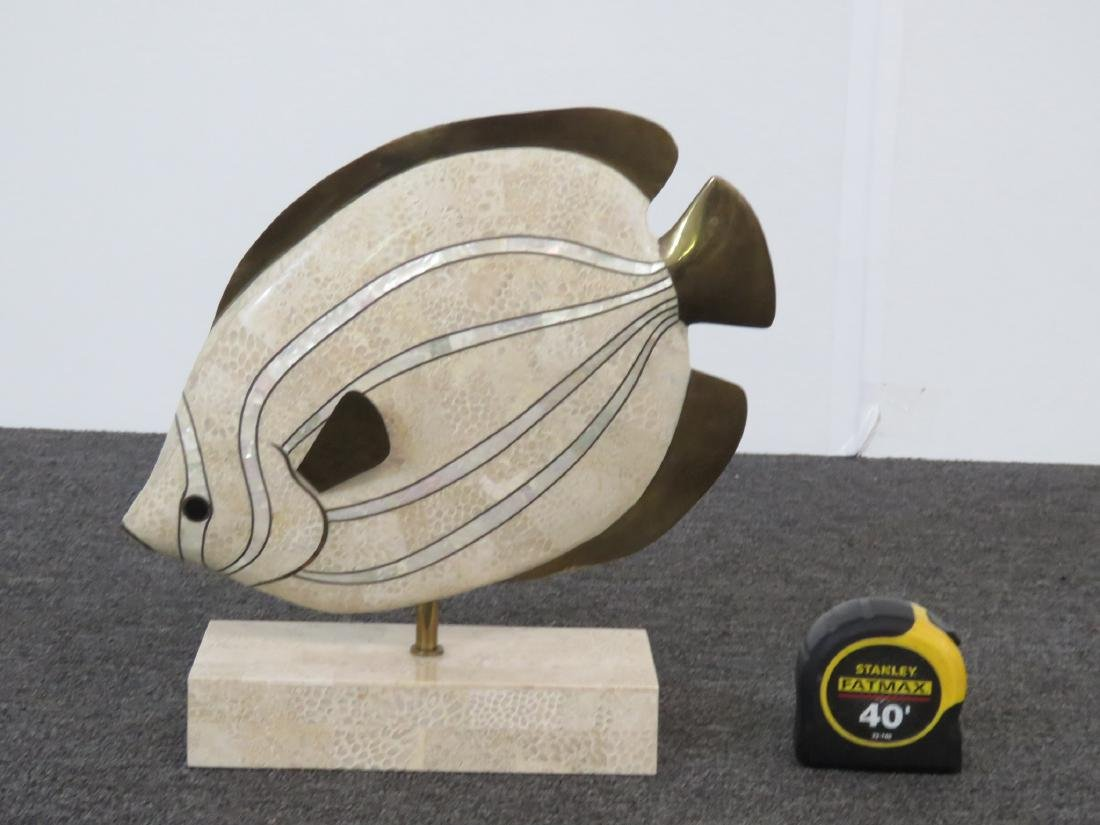 TESSELLATED MARBLE SCULPTURE OF A FISH - 4