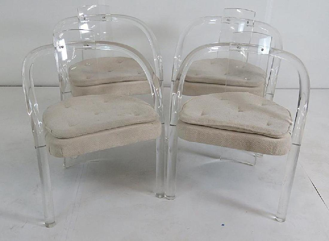 4 MODERN LUCITE DINING CHAIRS - 2